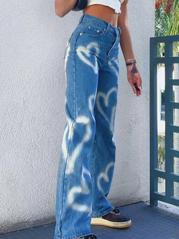 Jeans boyfriend a vita alta con motivo a cuore - Blu S