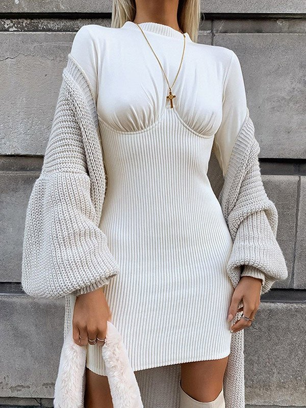 Ribbed Patchwork Long Sleeve Dress - White S