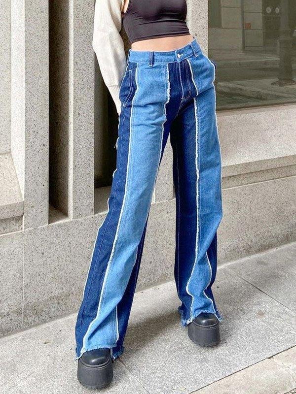 Patchwork High Rise Frayed Boyfriend Jeans - Blue L