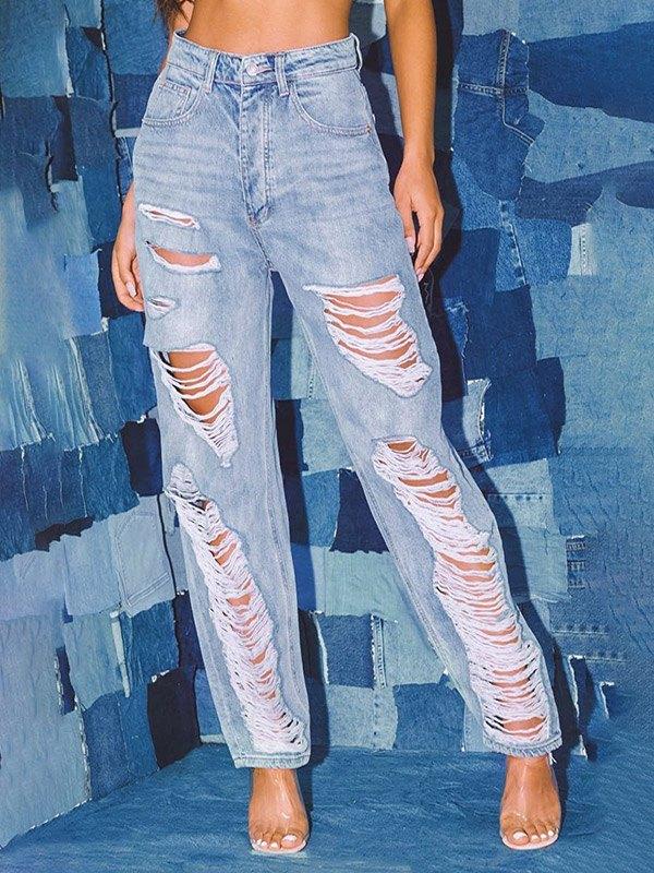 High Rise Ripped Boyfriend Jeans - Blue 3XL