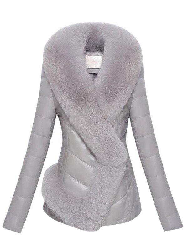 Faux Fur Trim Pu Leather Padded Coat - Gray 3XL