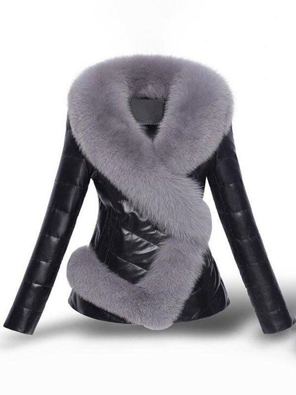 Faux Fur Trim Pu Leather Padded Coat - Black 3XL