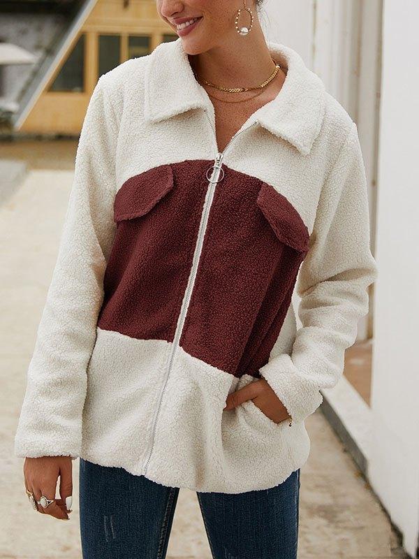 Zip Up Color Block Fleece Jacket - Red 3XL