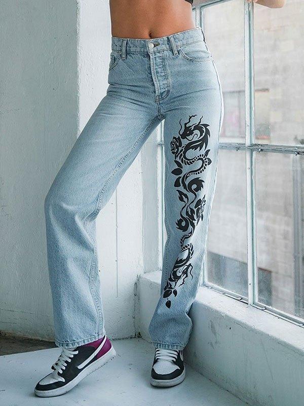 Dragon Print Boyfriend Jeans - Blue 2XL