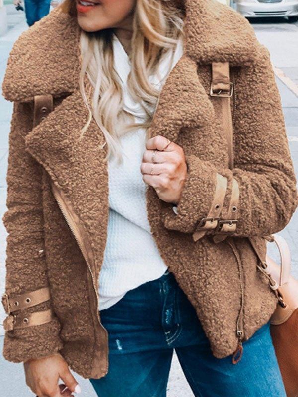 Zip Up Teddy Fleece Jacket - Camel 3XL