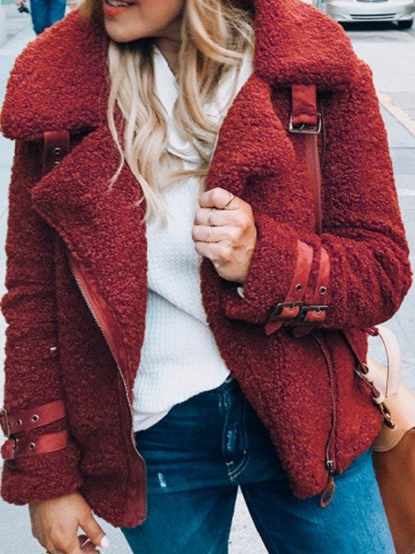 Zip Up Teddy Fleece Jacket - Red 3XL