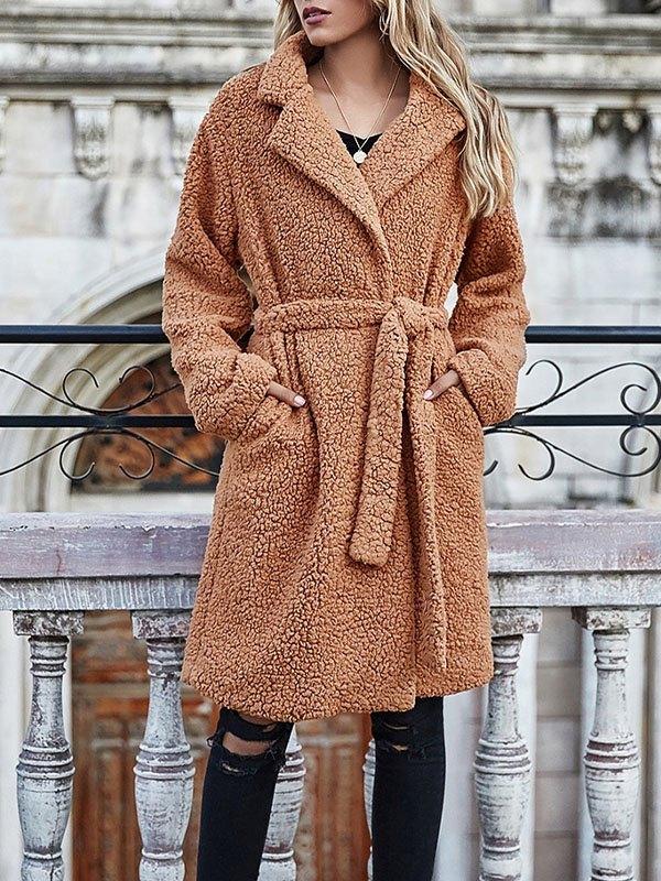 Longline Fleece Coat - Brown XL