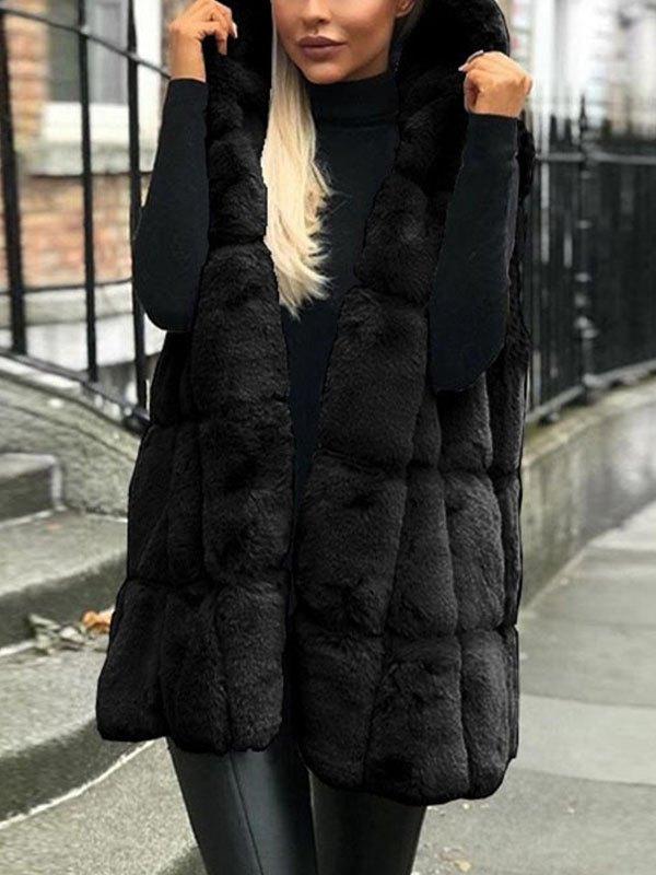 Faux Fur Hooded Sleeveless Coat - Black 3XL