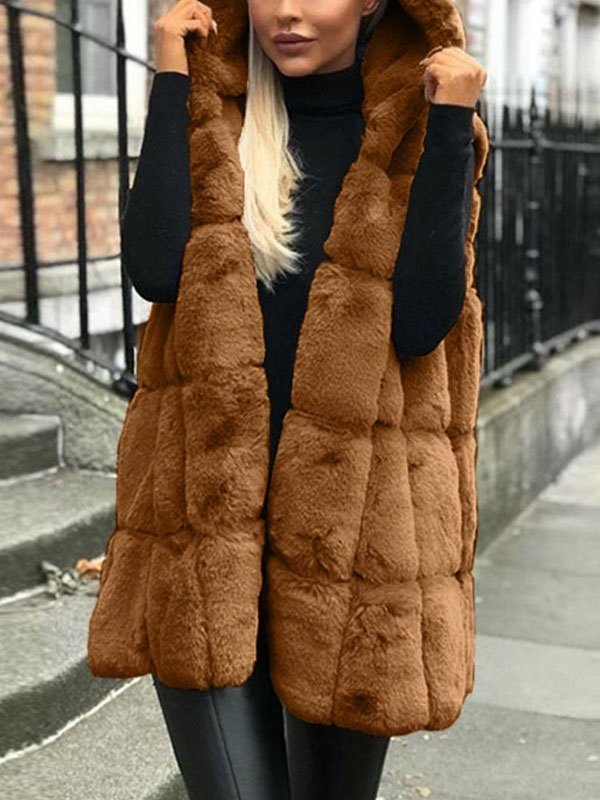 Faux Fur Hooded Sleeveless Coat - Brown 3XL