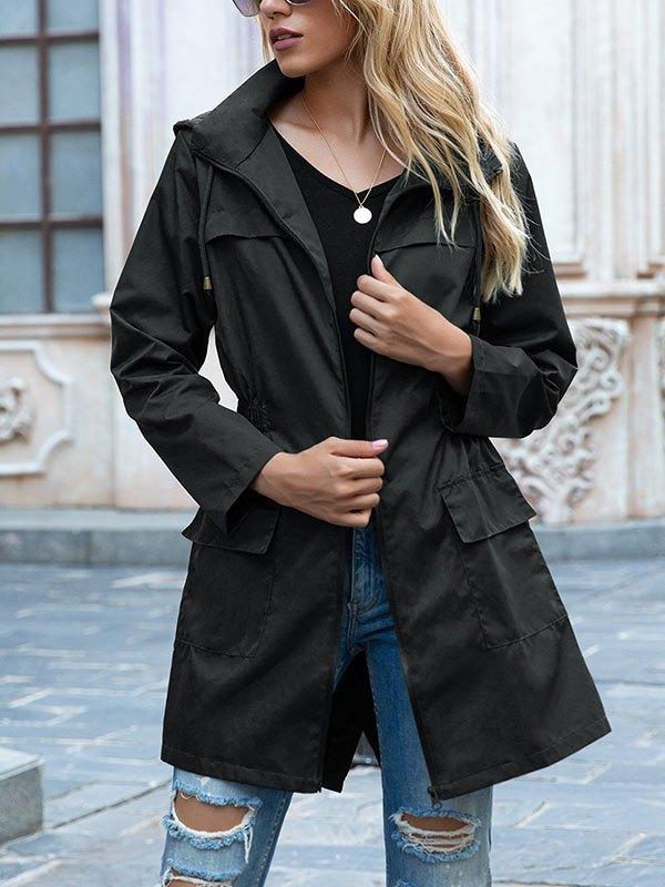 Water Proof Hooded Coat - Black 2XL