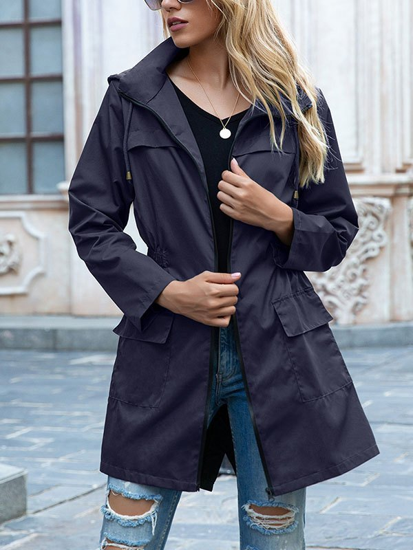 Water Proof Hooded Coat - Blue 2XL