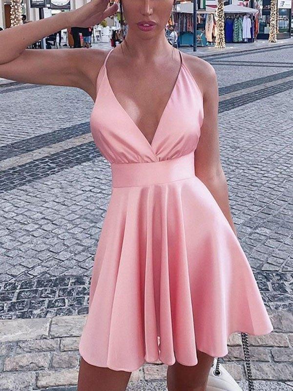 Sleeveless Satin Party Mini Dress - Pink L