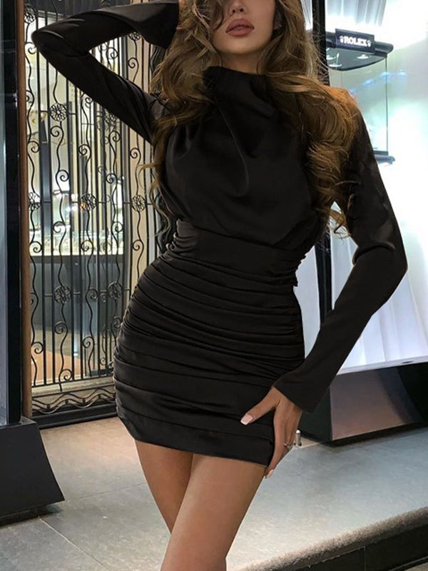 Ruched Wrap Long Sleeve Dress - Black L