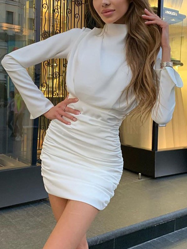 Ruched Wrap Long Sleeve Dress - White L