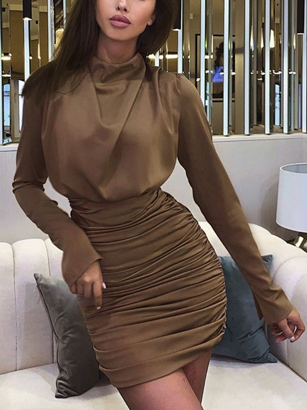 Ruched Wrap Long Sleeve Dress - Brown L
