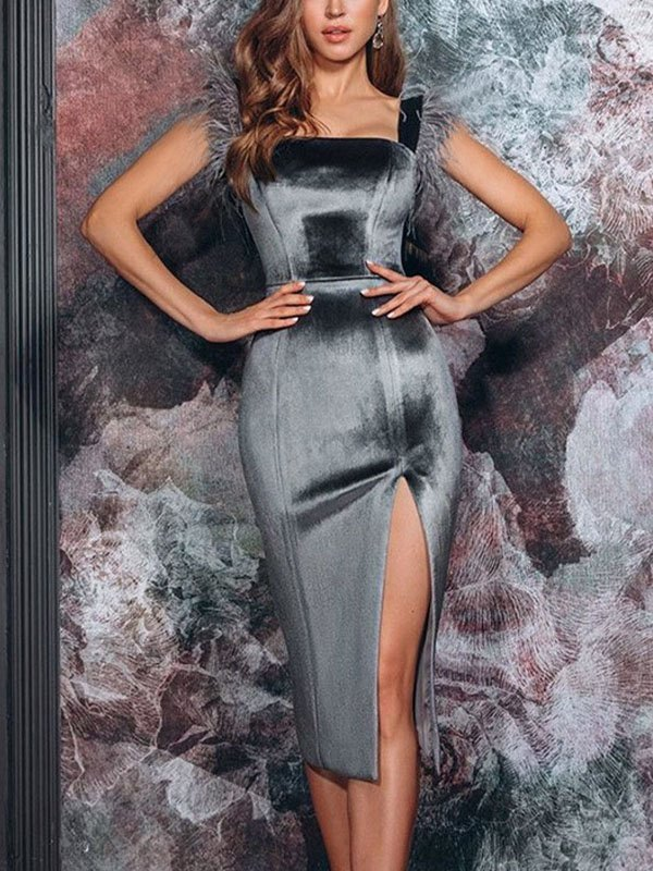 Fuzzy Trim Velvet Maxi Dress - Gray L