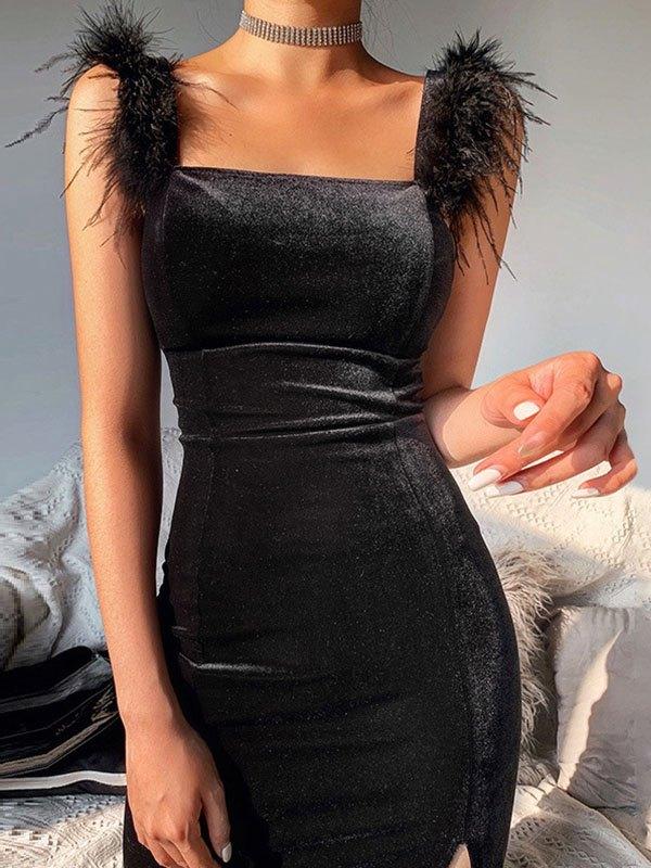 Fuzzy Trim Velvet Maxi Dress - Black L