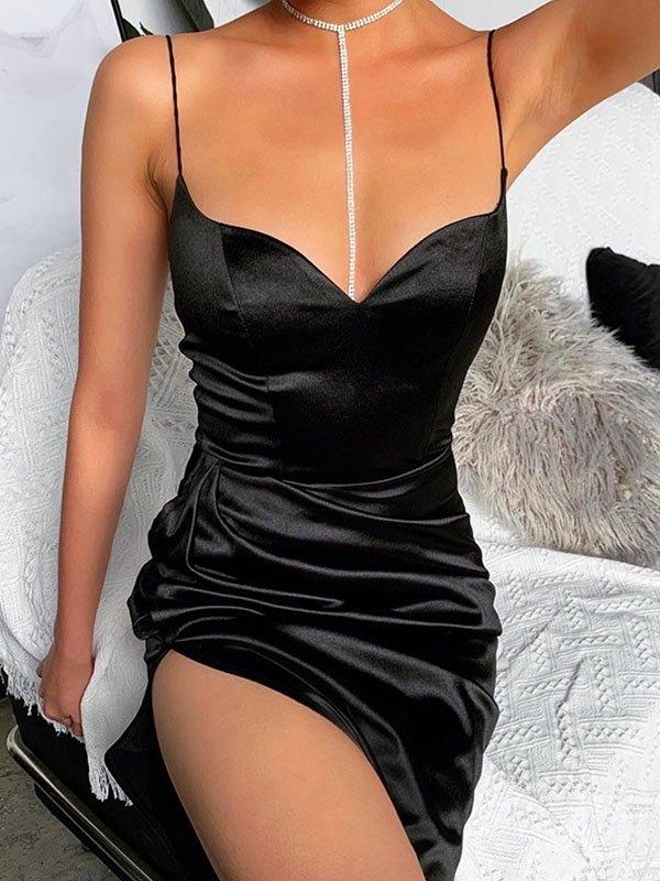 Satin Cami Maxi Dress - Black S