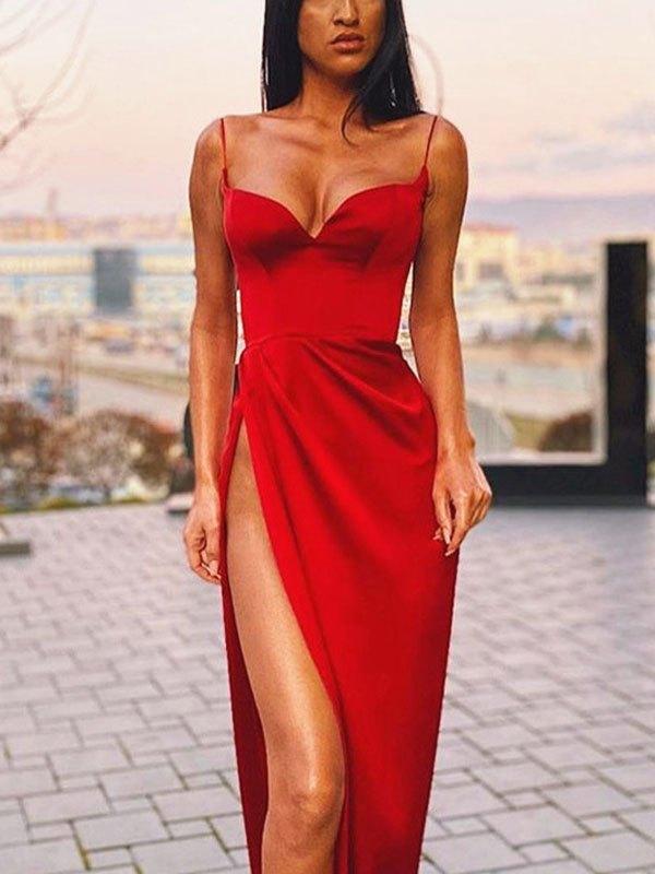 Satin Cami Maxi Dress - Red L