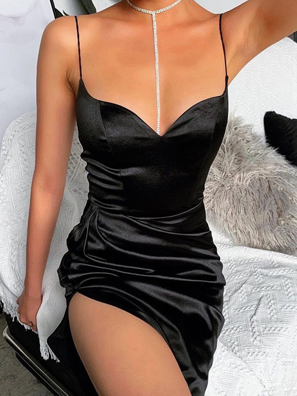 Satin Cami Maxi Dress - Black L