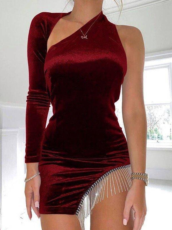 Irregular Cutout Velvet Mini Dress - Red L