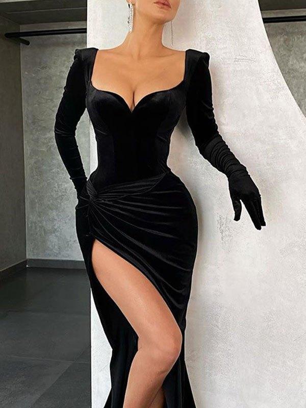 Front Split Velvet Long Sleeve Dress - Black L