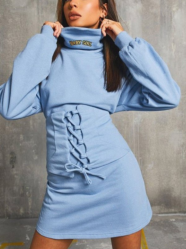 Turtleneck Corset Long Sleeve Dress - Blue L