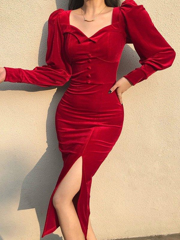 Vintage Velour Split Long Sleeve Dress - Red M