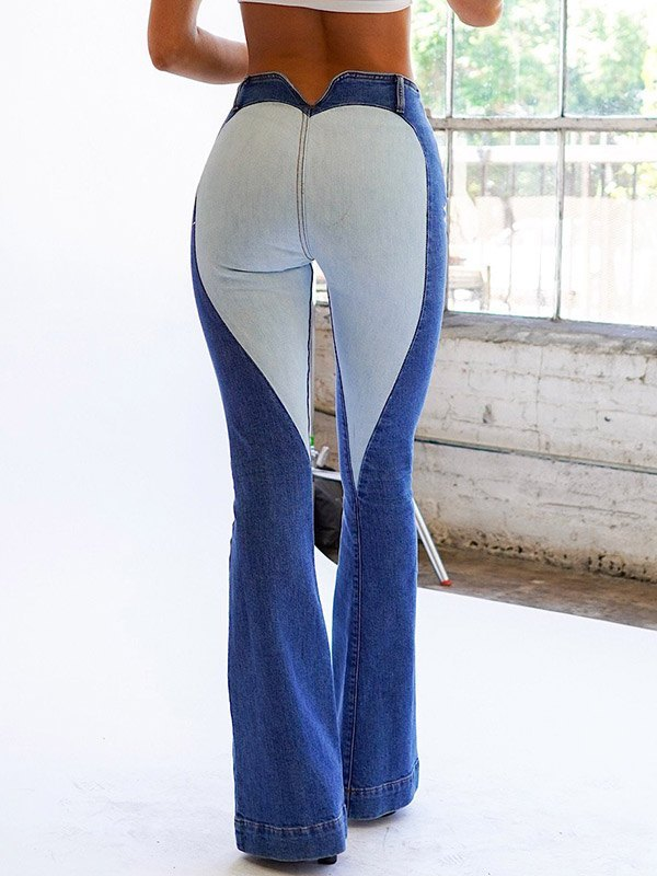 Heart Patched High Waisted Flare Jeans - Blue S