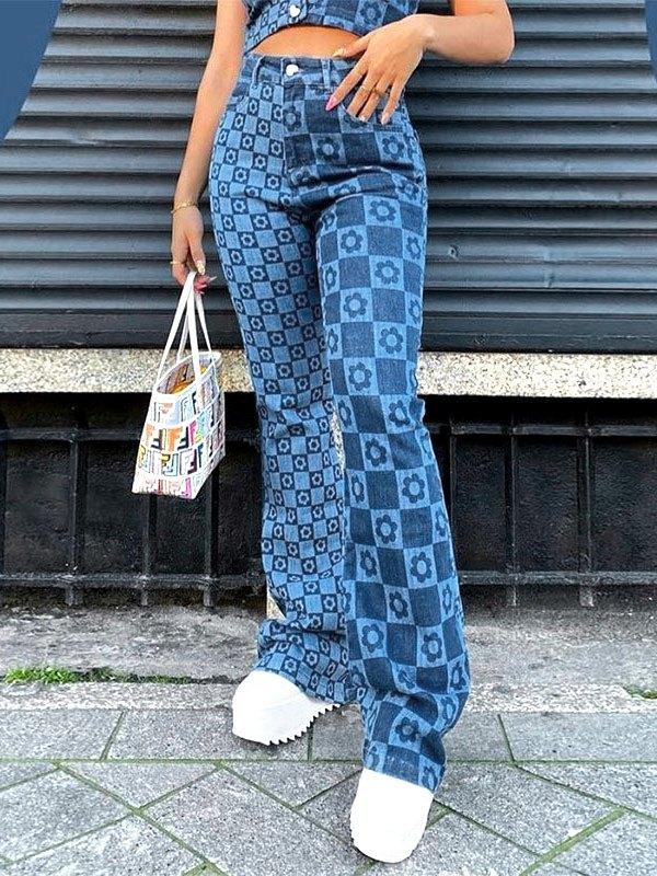 Checkered Print High Waist Slim Jeans - Blue S