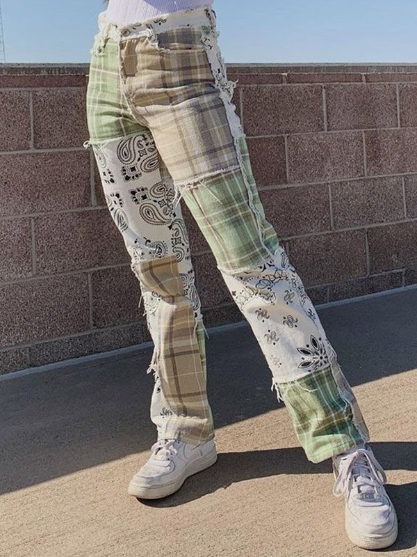 Patchwork Plaid Slim Jeans - Green M