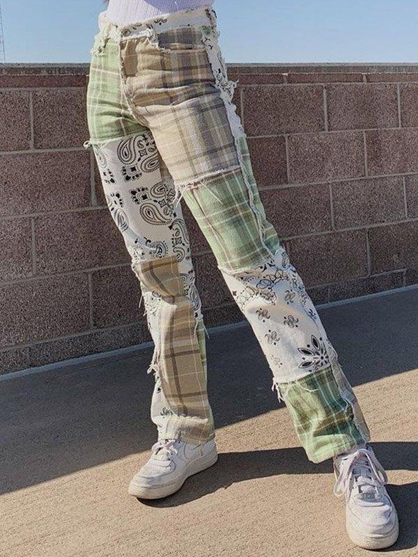 Patchwork Plaid Slim Jeans - Green L
