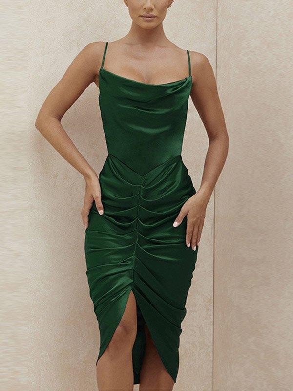 Ruched Satin Cami Midi Dress - Green S