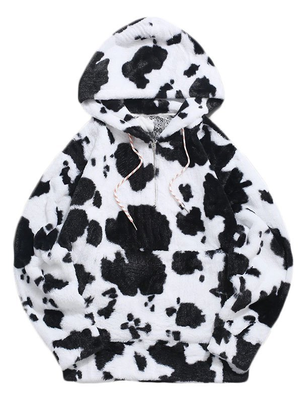 Men's Quarter Zip Cow Print Fluffy Hoodie - Black S