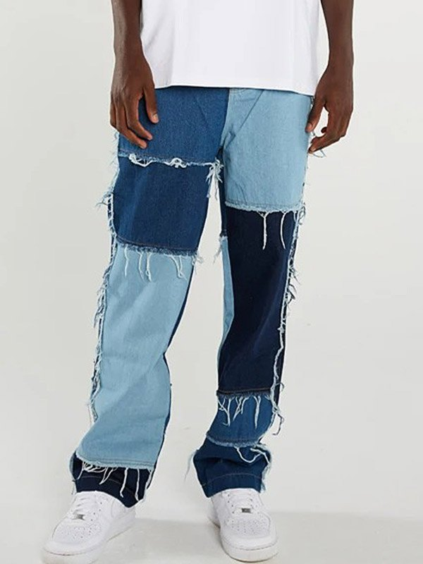 Jeans da skateboard sfilacciati patchwork da uomo - Blu S