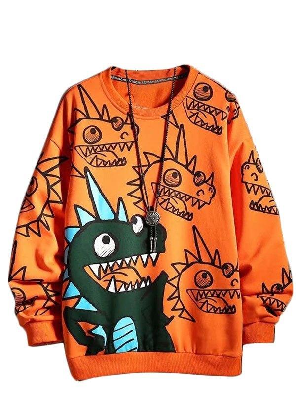 Men's Cartoon Dinosaur Print Sweatshirt - Orange XL
