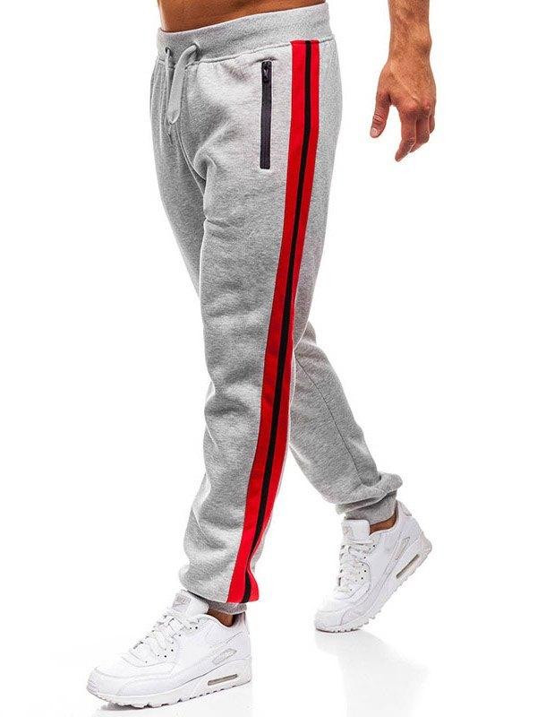 Men's Stripe Paneled Jogger Pants - Gray XL
