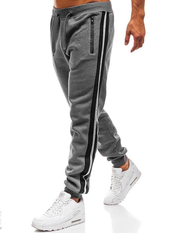 Men's Stripe Paneled Jogger Pants - Dark Gray XL