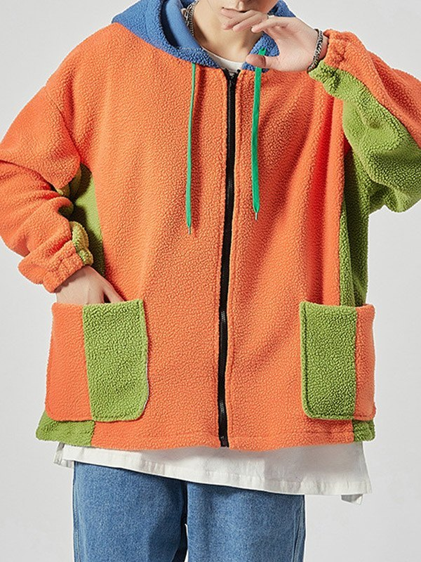 Men's Color Block Fleece Jacket - Orange 4XL
