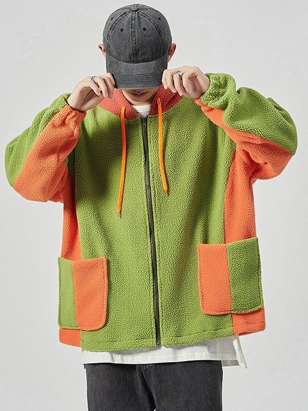Men's Color Block Fleece Jacket - Green 4XL