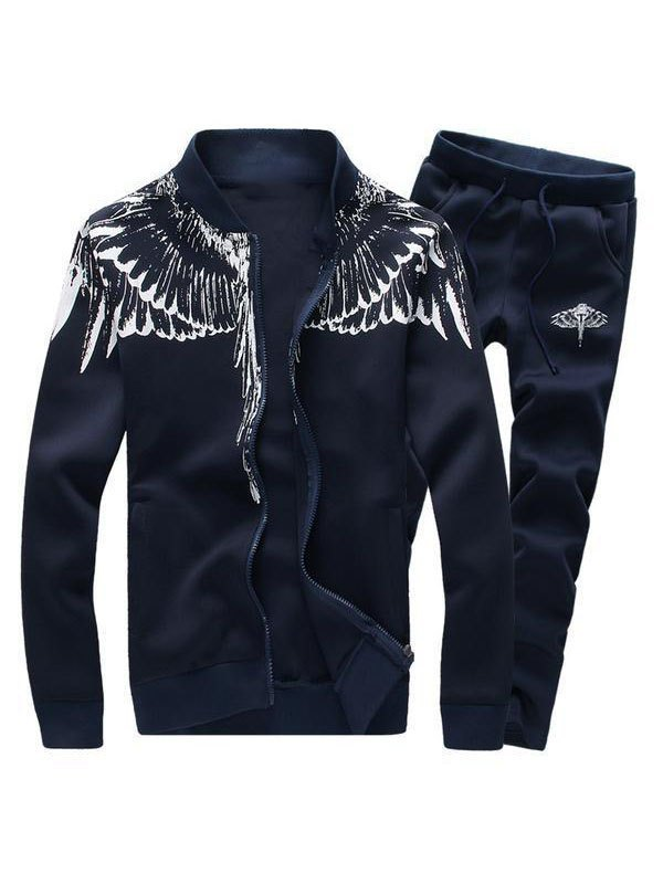 Men's Angel Wings Print Tracksuit Set - Navy Blue 3XL