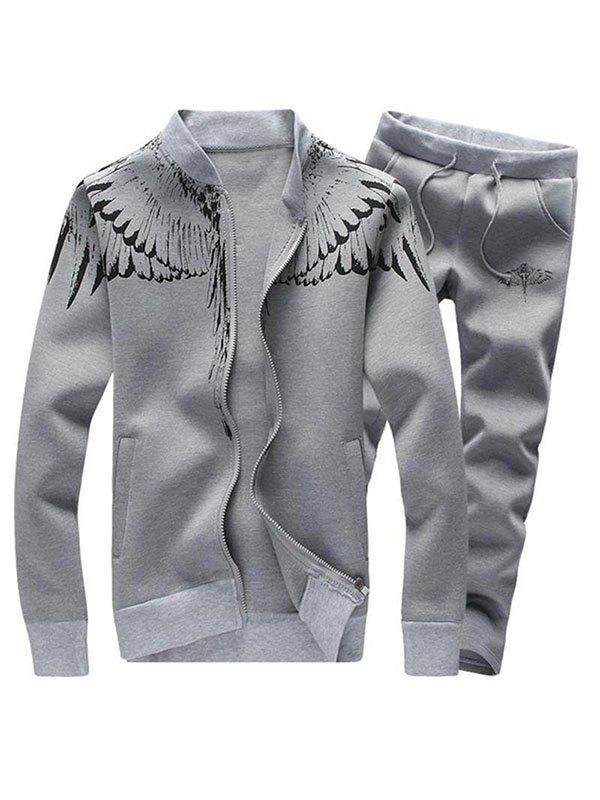 Men's Angel Wings Print Tracksuit Set - Gray 3XL