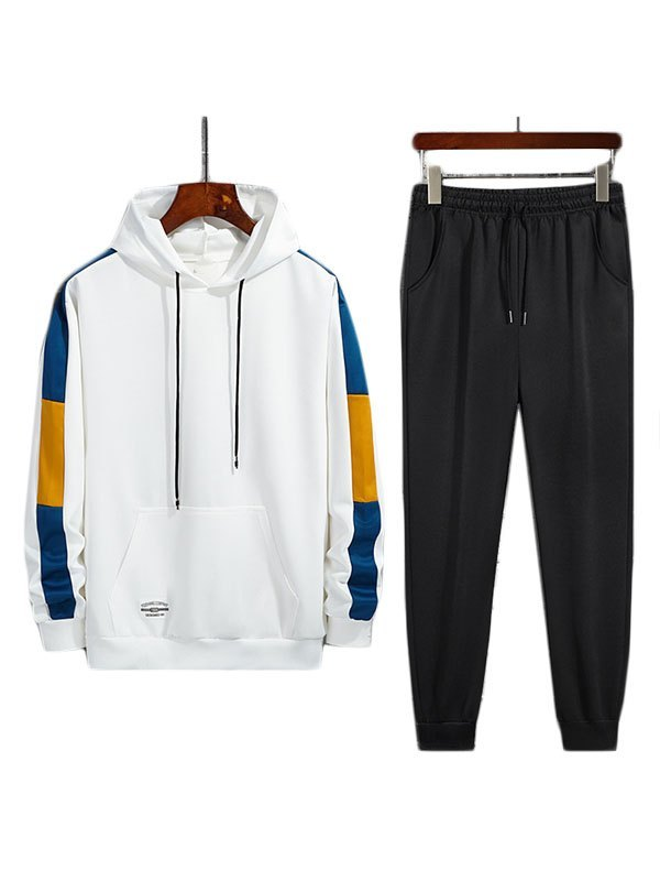 Men's Colorblock Hoodie Joggers Set - White 3XL