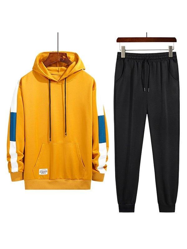 Men's Colorblock Hoodie Joggers Set - Yellow 3XL