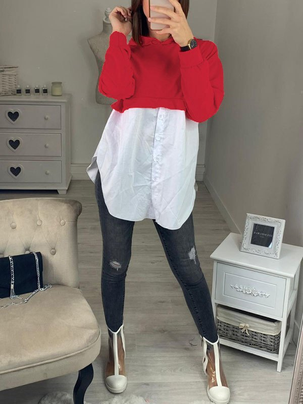 Patchwork Buttoned Hoodie - Red XL