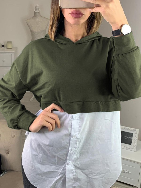 Patchwork Buttoned Hoodie - Chive XL
