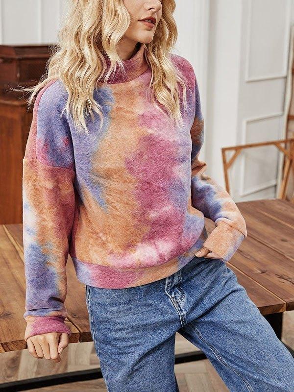 Turtleneck Tie-Dye Sweatshirt - multicolorple Colors XL