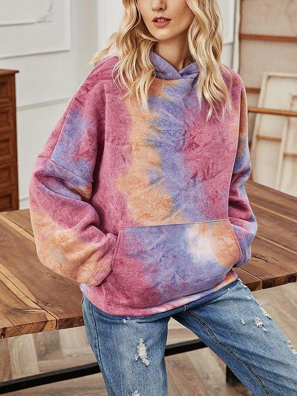 Tie-Dye Long Sleeve Hoodie - multicolorple Colors XL
