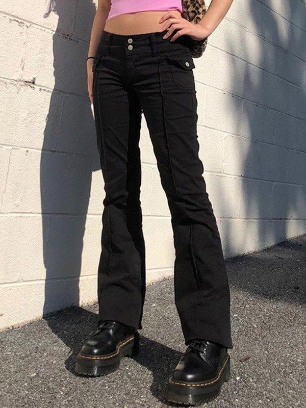 Pantaloni in tessuto a vita bassa vintage - Nero S
