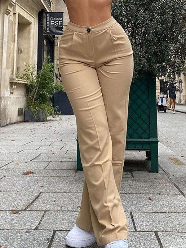 Pantaloni dritti a vita alta - Albicocca S